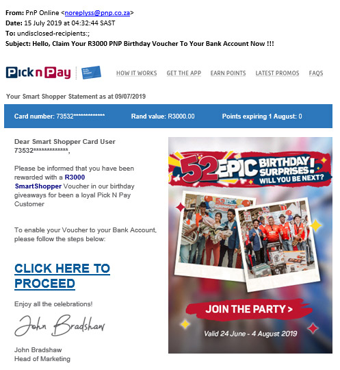 Scams | Pick n Pay Online Shopping
