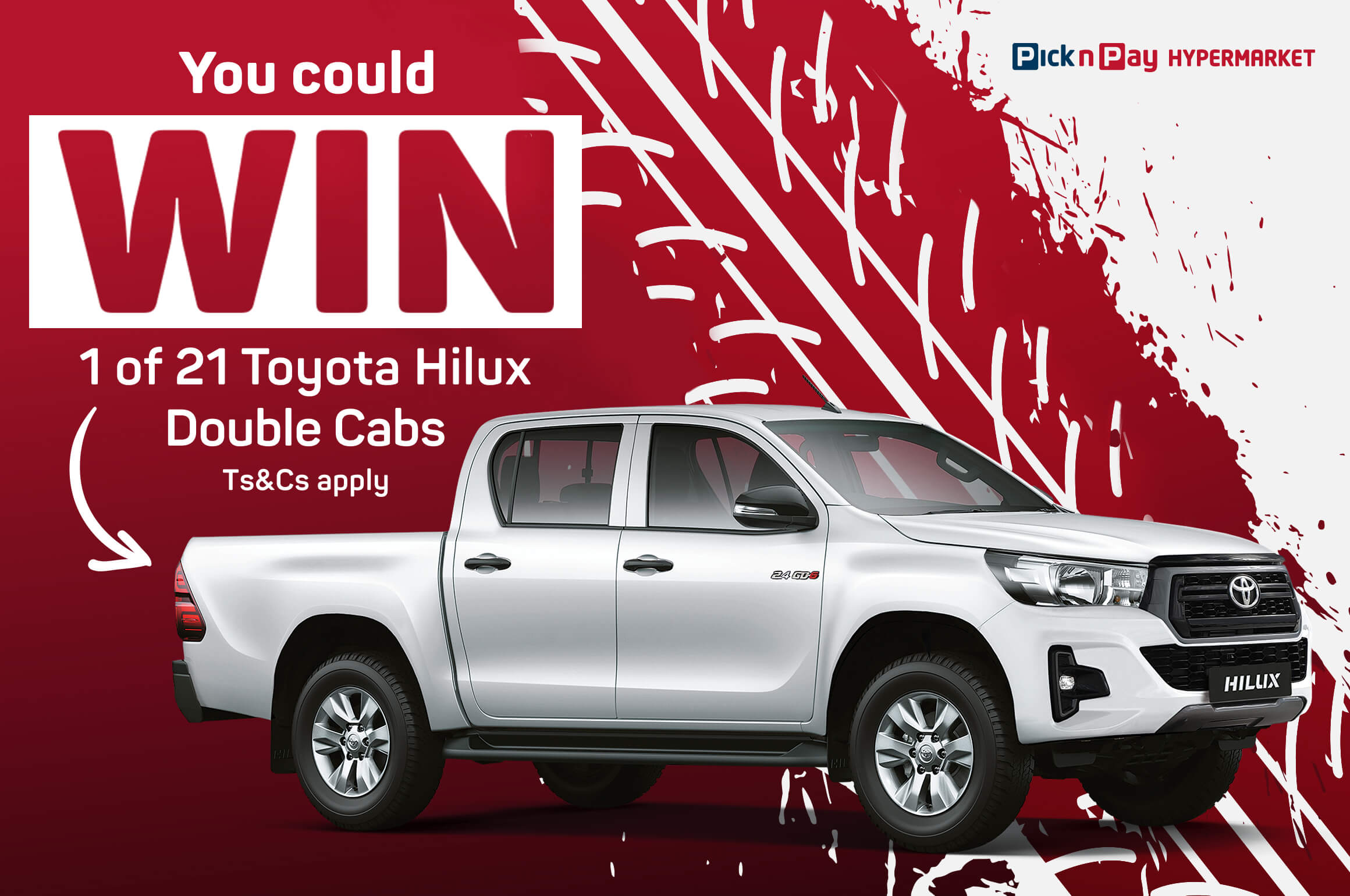You could WIN 1 of 21 Toyota Hilux Double Cabs