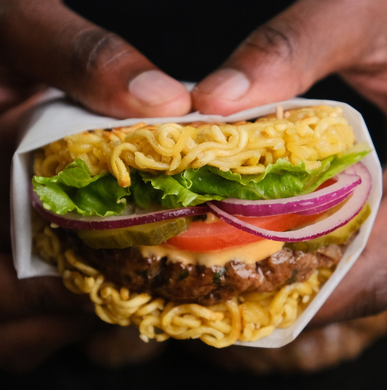 Maggie - Maggnificent Beef Burger in Noodle Bun