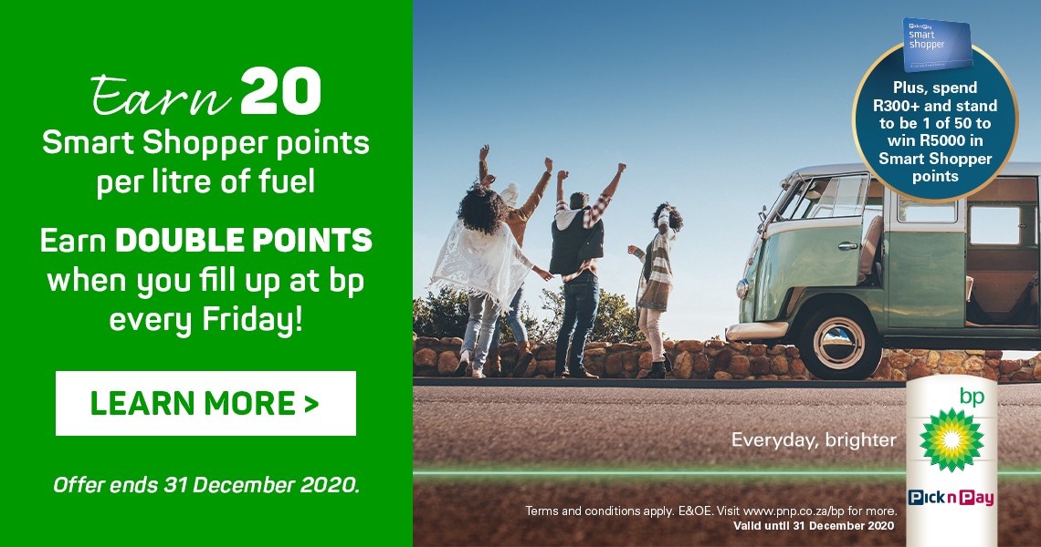 Earn 20 Smart Shopper points per litre of fuel. Earn double points when you fill up at bp every Friday. Learn more