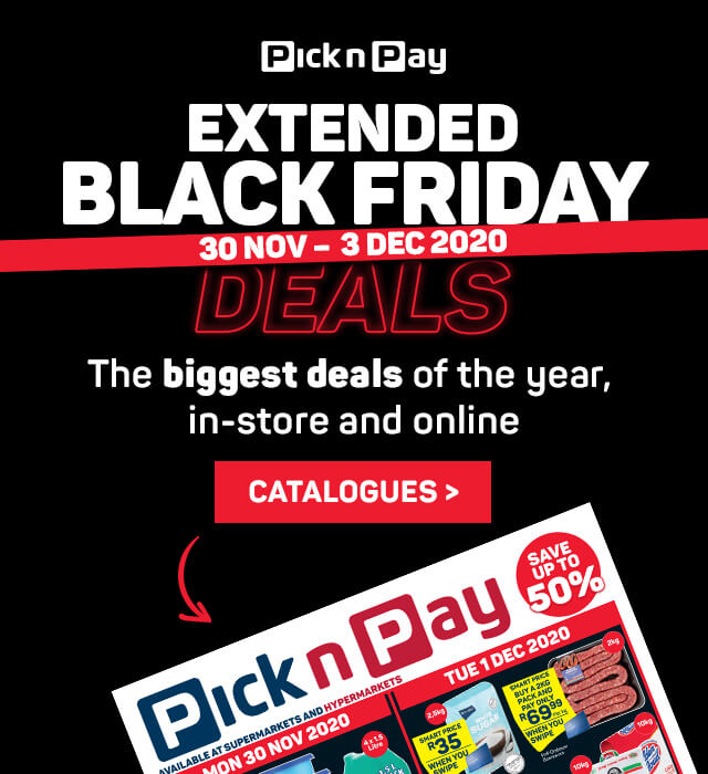 Pick n Pay Black Friday deals. View catalogues