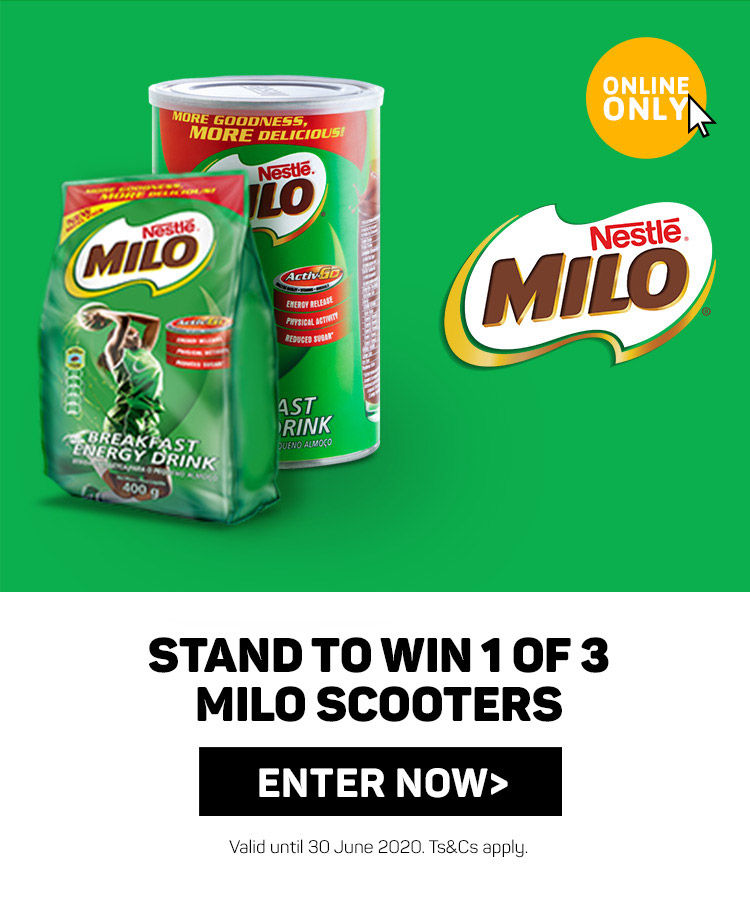 Stand to win 1 of 3 Milo scooters. Enter now
