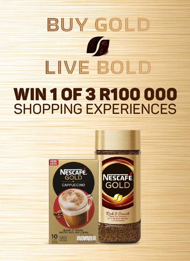 Buy gold Live Gold. Win 1 of 3 R100 000 shopping experiences