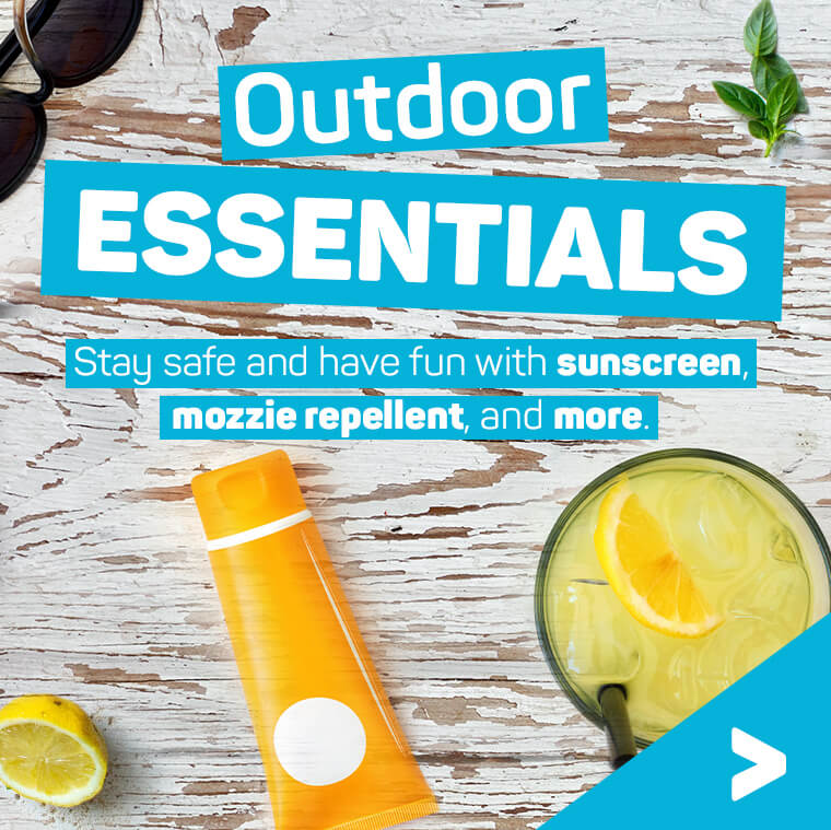 Out door essentials. Stay safe and have fun with sunscreen, mozzie repellent, and more.