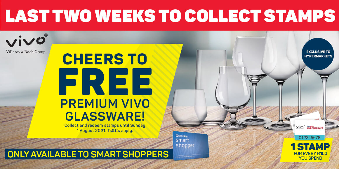 Last 2 weeks to collect. Cheers to free premiun Vivo Glassware! Collect and redeem stamps until Sunday 1 August 2021.
