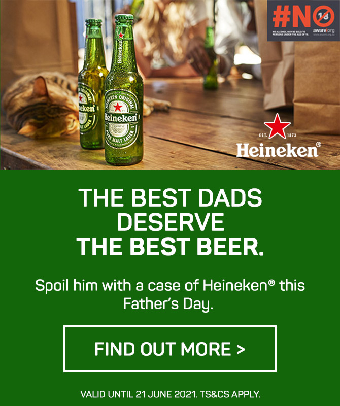 Spoil dad with a well-deserved case of Heineken®️ this Father's Day.