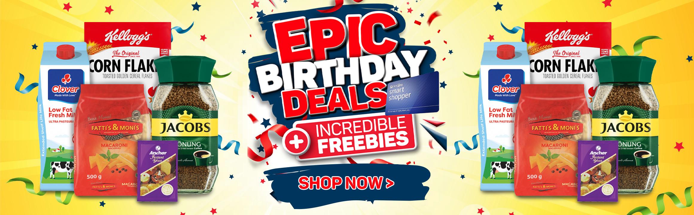 Epic Birthday deals + incredible freebies.