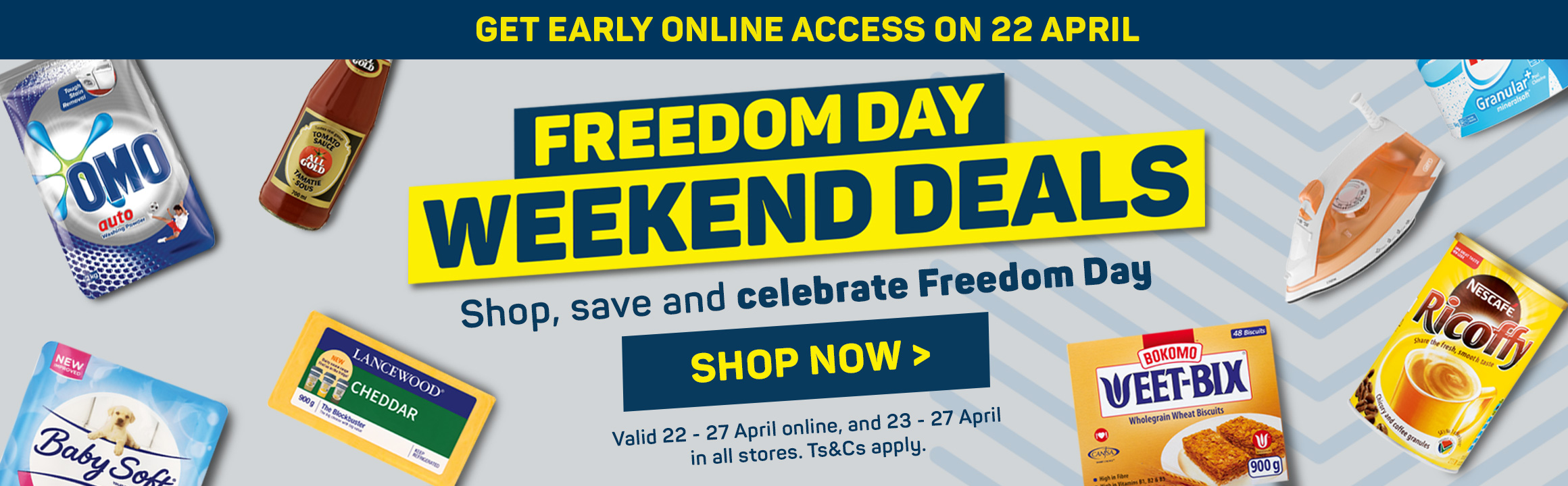 Freedom day weekend deals. Shop now