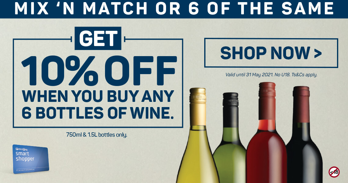 Get 10% off when you buy any 6 bottles of wine. Shop now