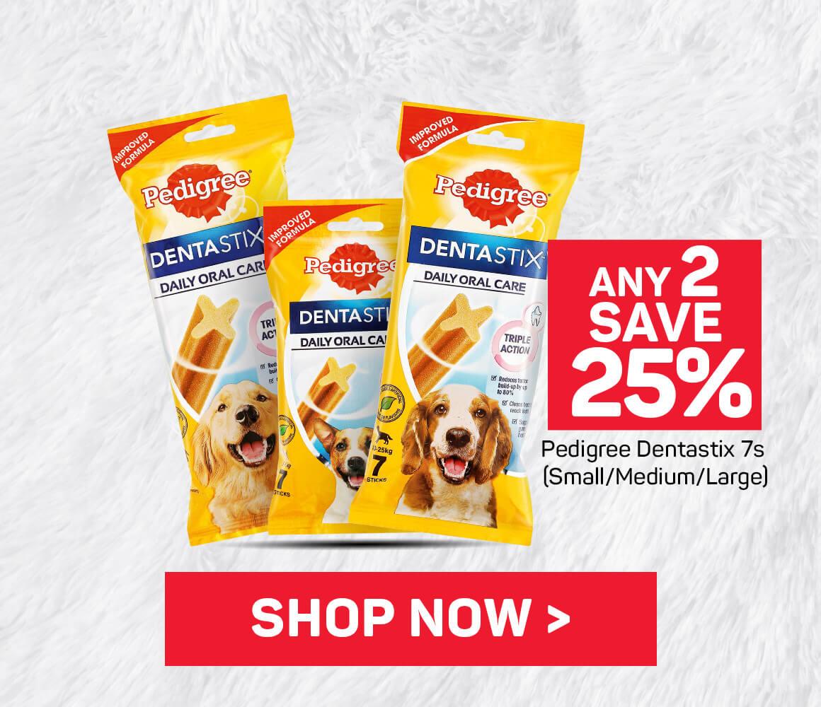 Any 2 save 25% Pedigree Dentastix 7s  (Small/Medium/Large) shop now