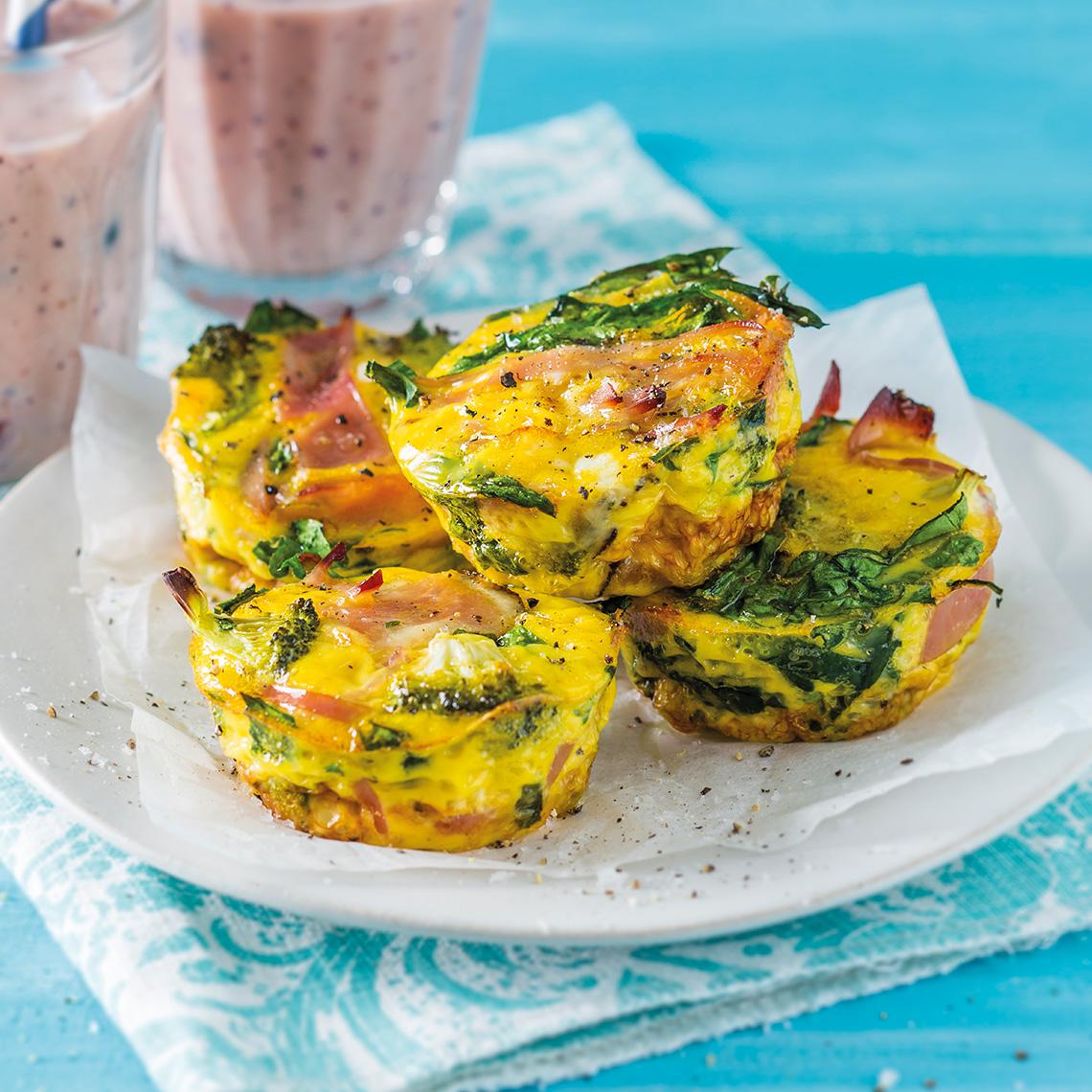 Breakfast broccoli and ham quiches