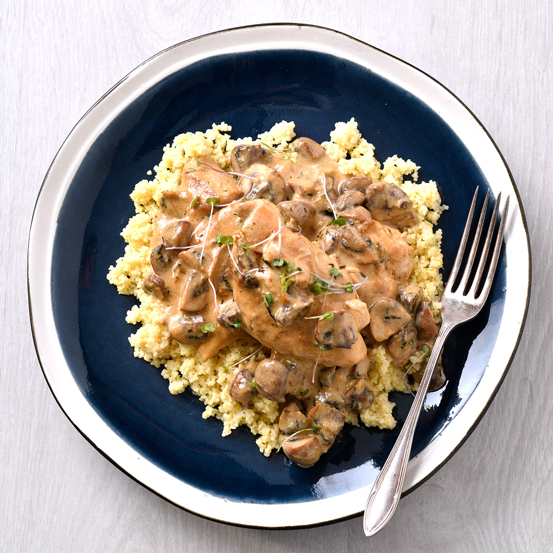 Creamy chicken topped with mushroom thyme sauce