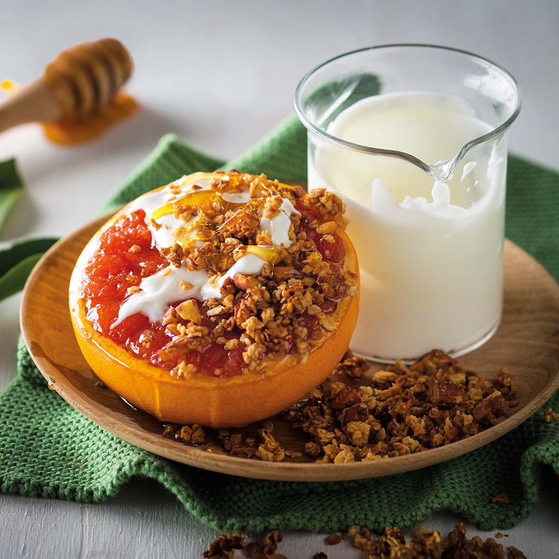 Grilled grapefruit with oat crumble