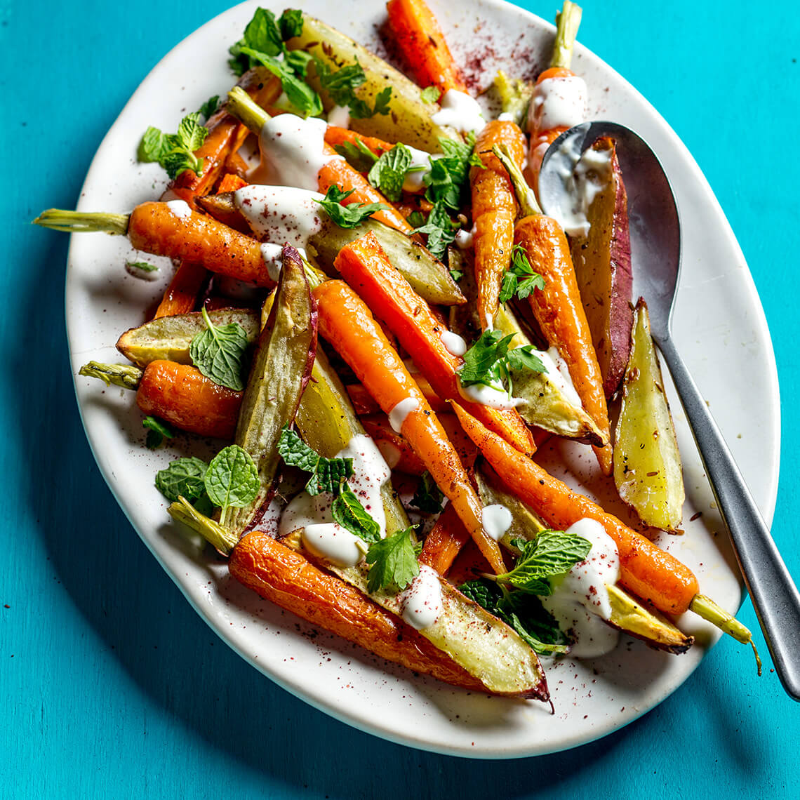 Roasted sweet potato and carrot